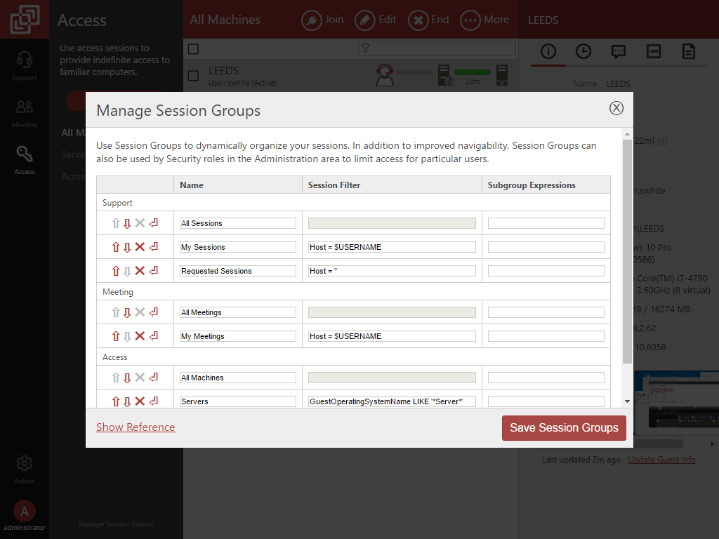 Remote Access Manage Session Groups